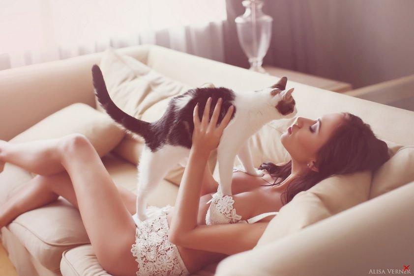 Эротика девушка и кот