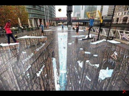 3D рисунок на асфальте